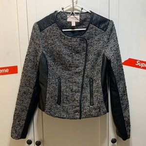 Forever 21 Tweed and Faux Leather Jacket, M
